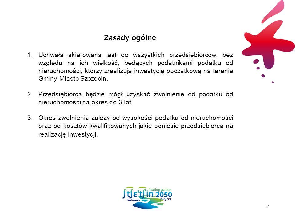 Zasady ogólne 1.Uchwała skierowana jest do wszystkich przedsiębiorców, bez względu na ich wielkość, będących podatnikami podatku od nieruchomości, którzy zrealizują inwestycję początkową na terenie Gminy Miasto Szczecin.