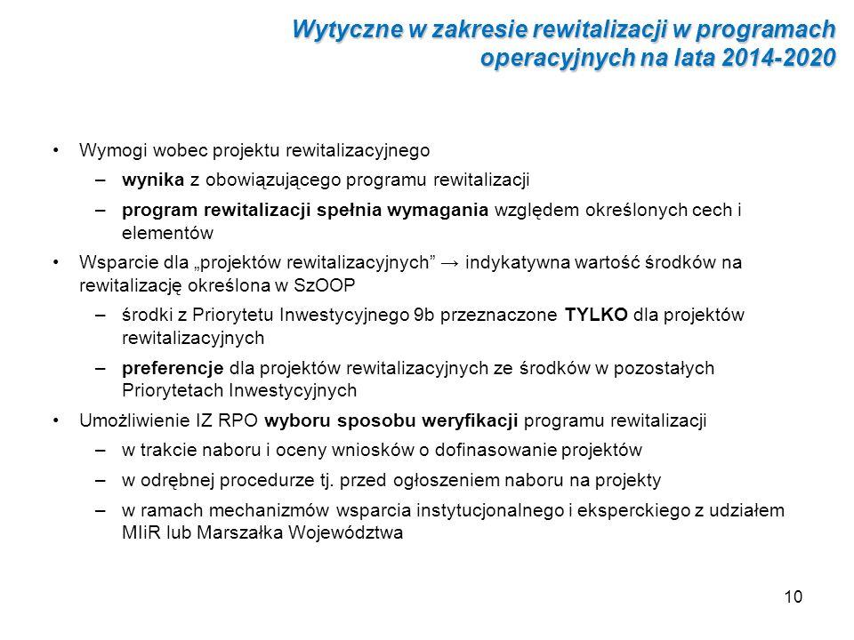 10 Wymogi wobec projektu rewitalizacyjnego –wynika z obowiązującego programu rewitalizacji –program rewitalizacji spełnia wymagania względem określony