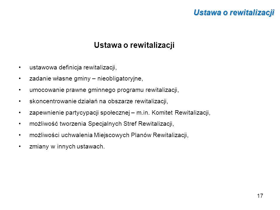 Ustawa o rewitalizacji ustawowa definicja rewitalizacji, zadanie własne gminy – nieobligatoryjne, umocowanie prawne gminnego programu rewitalizacji, s