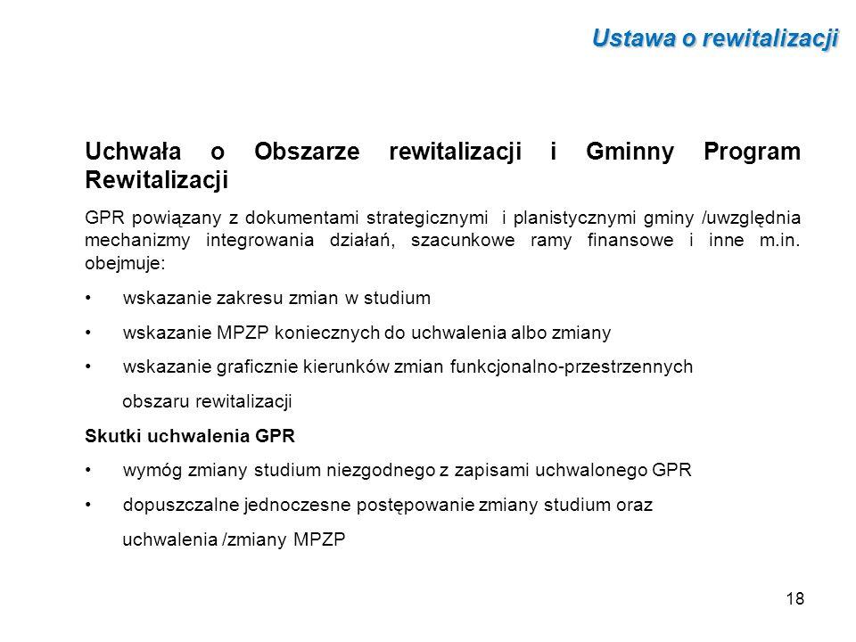 Uchwała o Obszarze rewitalizacji i Gminny Program Rewitalizacji GPR powiązany z dokumentami strategicznymi i planistycznymi gminy /uwzględnia mechaniz