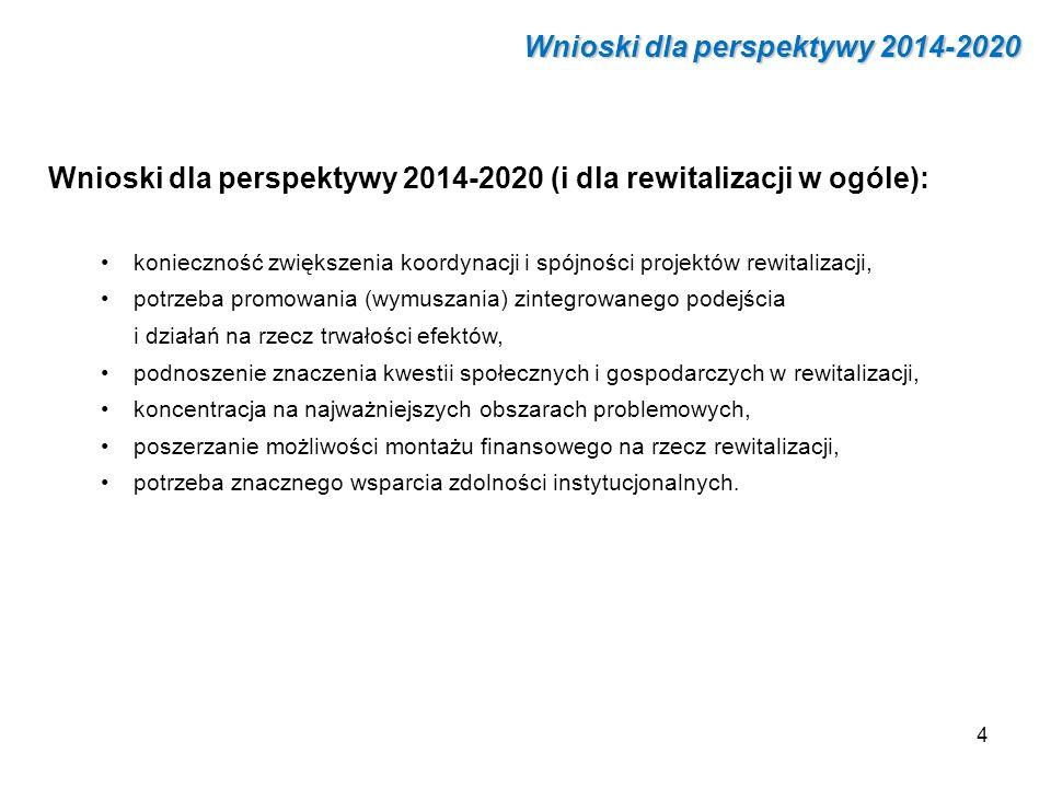 Wnioski dla perspektywy 2014-2020 Wnioski dla perspektywy 2014-2020 (i dla rewitalizacji w ogóle): konieczność zwiększenia koordynacji i spójności pro