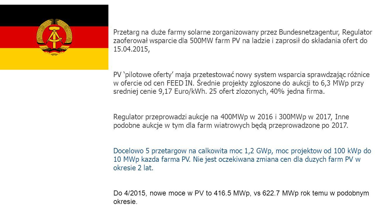 Przetarg na duże farmy solarne zorganizowany przez Bundesnetzagentur, Regulator zaoferował wsparcie dla 500MW farm PV na ladzie i zaprosił do składania ofert do 15.04.2015, PV 'pilotowe oferty' maja przetestować nowy system wsparcia sprawdzając różnice w ofercie od cen FEED IN.