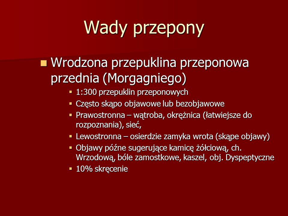 Wady przepony Wrodzona przepuklina przeponowa przednia (Morgagniego) Wrodzona przepuklina przeponowa przednia (Morgagniego)  1:300 przepuklin przepon