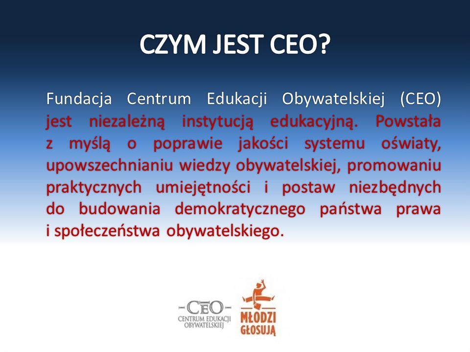 Fundacja Centrum Edukacji Obywatelskiej (CEO) jest niezależną instytucją edukacyjną. Powstała z myślą o poprawie jakości systemu oświaty, upowszechnia