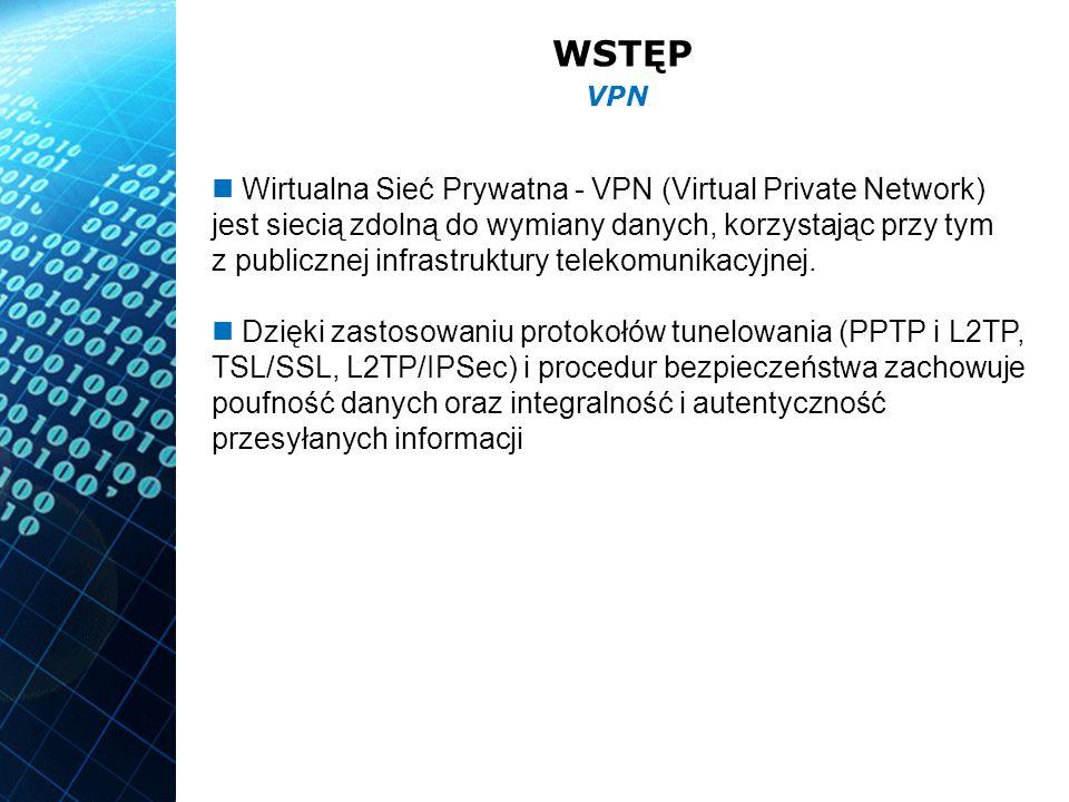 WSTĘP Rodzaje sieci: zaufany VPN (Trusted VPN) bezpieczny VPN (Secure VPN) hybrydowy VPN (Hybrid VPN) Topologie sieci VPN: site-to-site client-site VPN