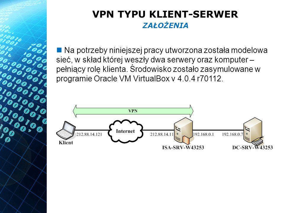 VPN TYPU KLIENT-SERWER Na potrzeby niniejszej pracy utworzona została modelowa sieć, w skład której weszły dwa serwery oraz komputer – pełniący rolę klienta.