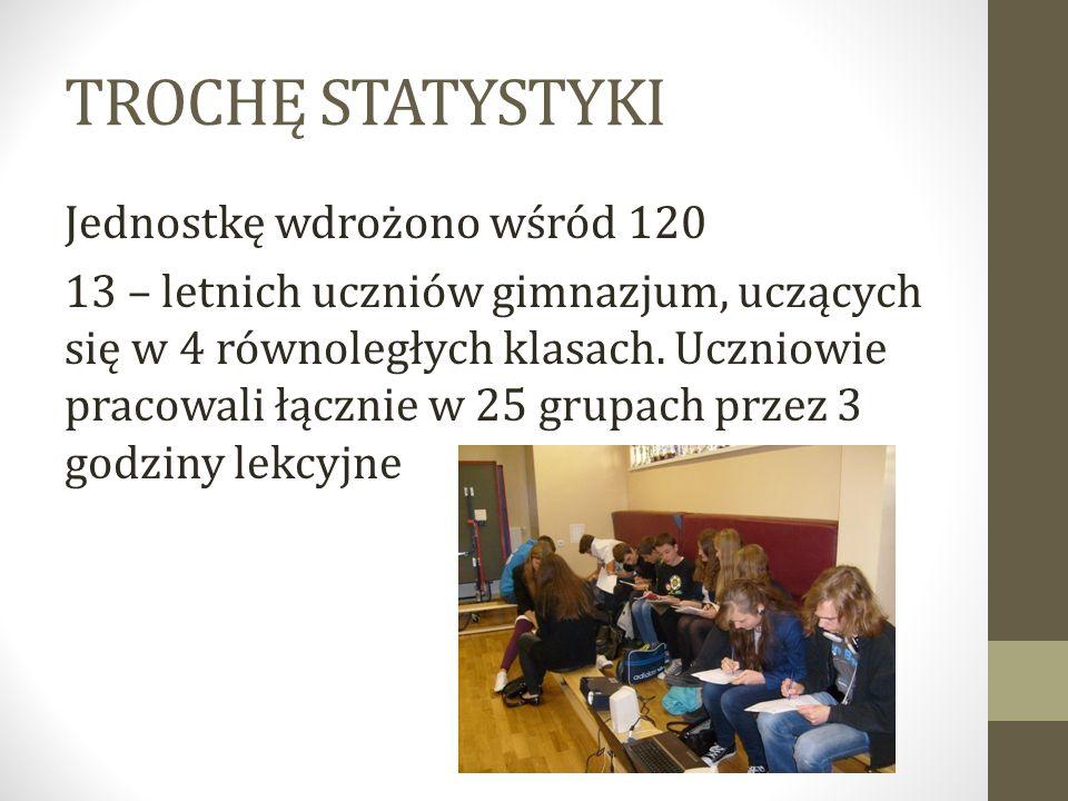 TROCHĘ STATYSTYKI Jednostkę wdrożono wśród 120 13 – letnich uczniów gimnazjum, uczących się w 4 równoległych klasach. Uczniowie pracowali łącznie w 25