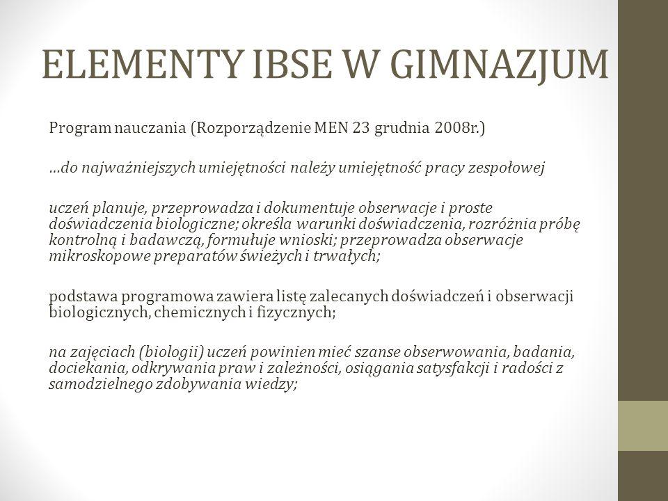 ELEMENTY IBSE W GIMNAZJUM Program nauczania (Rozporządzenie MEN 23 grudnia 2008r.) …do najważniejszych umiejętności należy umiejętność pracy zespołowe