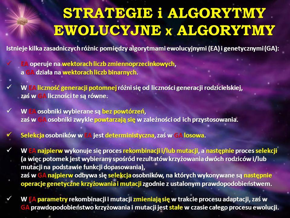 STRATEGIE i ALGORYTMY EWOLUCYJNE x ALGORYTMY Istnieje kilka zasadniczych różnic pomiędzy algorytmami ewolucyjnymi (EA) i genetycznymi (GA): EA operuje