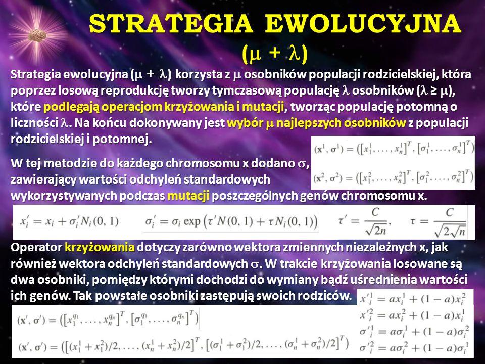 STRATEGIA EWOLUCYJNA (  + ) Strategia ewolucyjna (  + ) korzysta z  osobników populacji rodzicielskiej, która poprzez losową reprodukcję tworzy tym