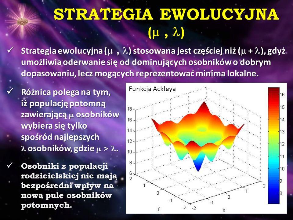 STRATEGIA EWOLUCYJNA ( , ) Strategia ewolucyjna ( , ) stosowana jest częściej niż (  + ), gdyż umożliwia oderwanie się od dominujących osobników o