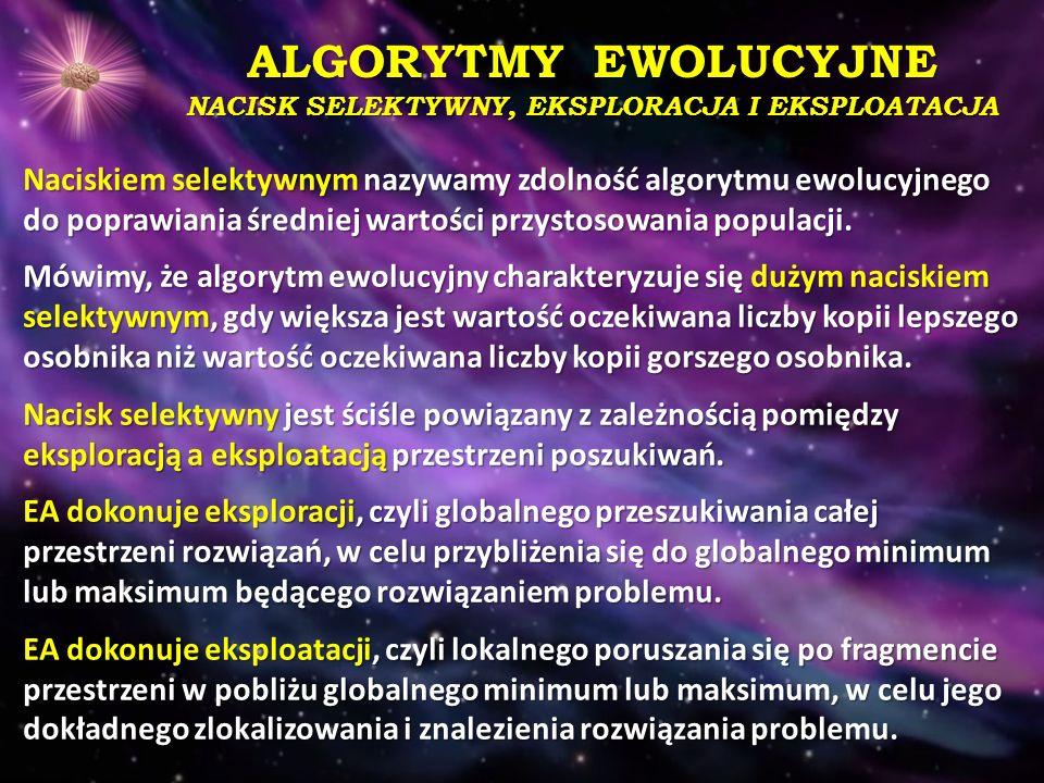 ALGORYTMY EWOLUCYJNE NACISK SELEKTYWNY, EKSPLORACJA I EKSPLOATACJA Naciskiem selektywnym nazywamy zdolność algorytmu ewolucyjnego do poprawiania średn
