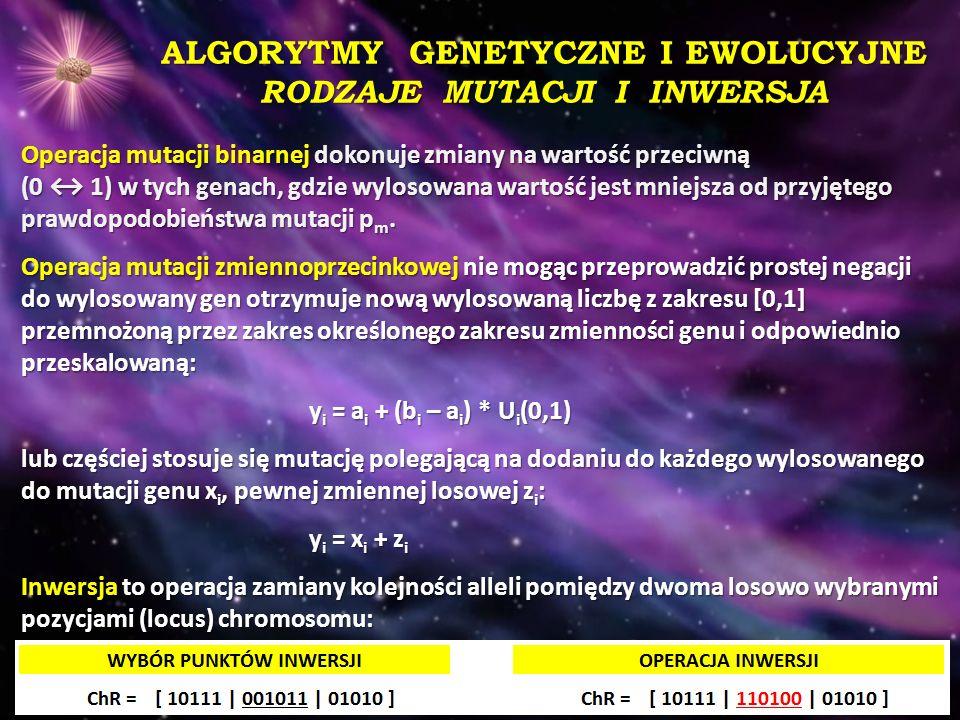ALGORYTMY GENETYCZNE I EWOLUCYJNE RODZAJE MUTACJI I INWERSJA Operacja mutacji binarnej dokonuje zmiany na wartość przeciwną (0 ↔ 1) w tych genach, gdz
