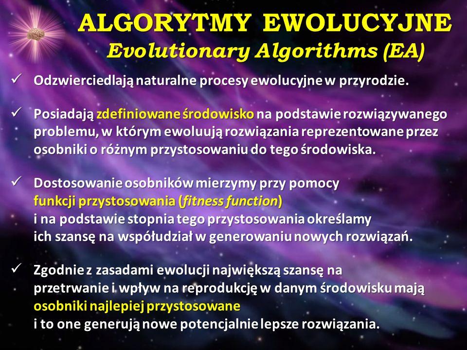 ALGORYTMY EWOLUCYJNE Evolutionary Algorithms (EA) Odzwierciedlają naturalne procesy ewolucyjne w przyrodzie. Odzwierciedlają naturalne procesy ewolucy