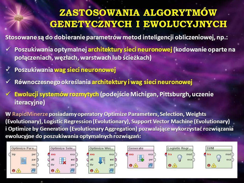 ZASTOSOWANIA ALGORYTMÓW GENETYCZNYCH I EWOLUCYJNYCH Stosowane są do dobieranie parametrów metod inteligencji obliczeniowej, np.: Poszukiwania optymaln