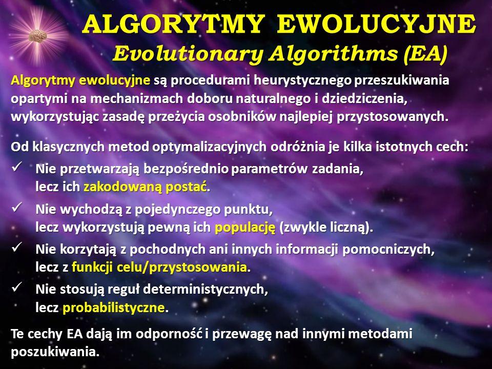 ALGORYTMY EWOLUCYJNE Evolutionary Algorithms (EA) Algorytmy ewolucyjne są procedurami heurystycznego przeszukiwania opartymi na mechanizmach doboru na