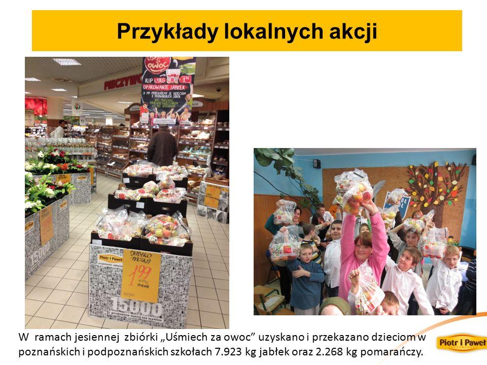 """W ramach jesiennej zbiórki """"Uśmiech za owoc uzyskano i przekazano dzieciom w poznańskich i podpoznańskich szkołach 7.923 kg jabłek oraz 2.268 kg pomarańczy."""