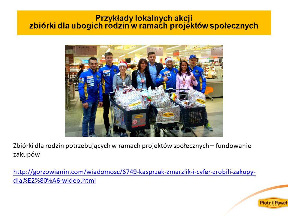 Przykłady lokalnych akcji zbiórki dla ubogich rodzin w ramach projektów społecznych Zbiórki dla rodzin potrzebujących w ramach projektów społecznych – fundowanie zakupów http://gorzowianin.com/wiadomosc/6749-kasprzak-zmarzlik-i-cyfer-zrobili-zakupy- dla%E2%80%A6-wideo.html