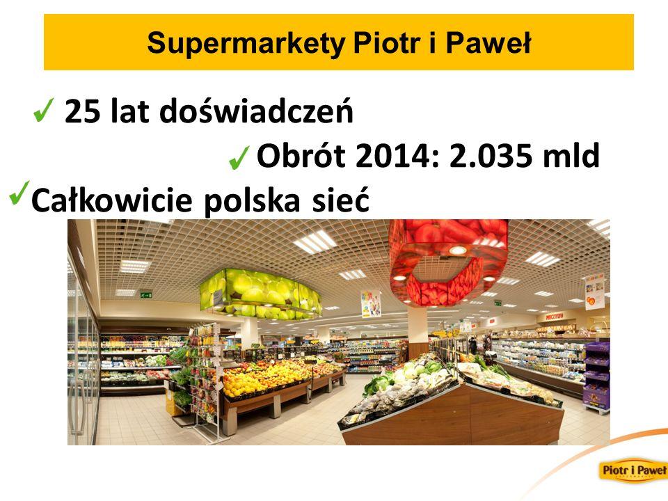 Supermarkety Piotr i Paweł 25 lat doświadczeń Obrót 2014: 2.035 mld Całkowicie polska sieć