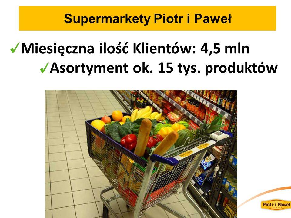 Supermarkety Piotr i Paweł Miesięczna ilość Klientów: 4,5 mln Asortyment ok. 15 tys. produktów