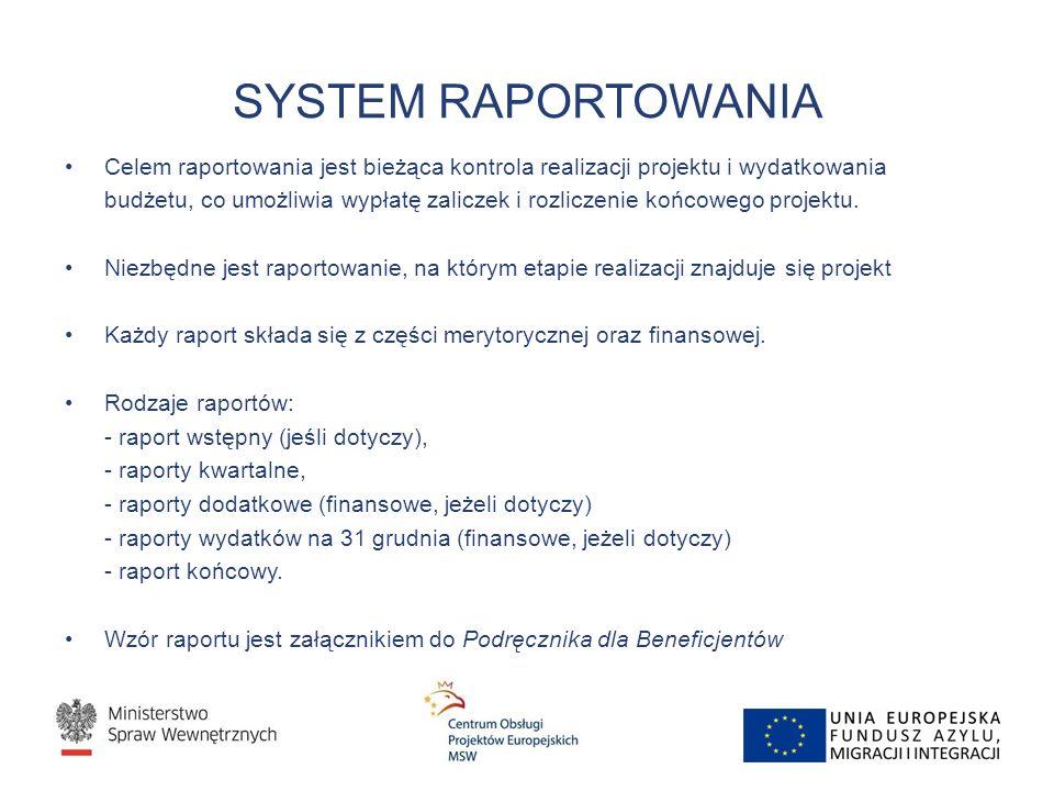 SYSTEM RAPORTOWANIA Celem raportowania jest bieżąca kontrola realizacji projektu i wydatkowania budżetu, co umożliwia wypłatę zaliczek i rozliczenie k