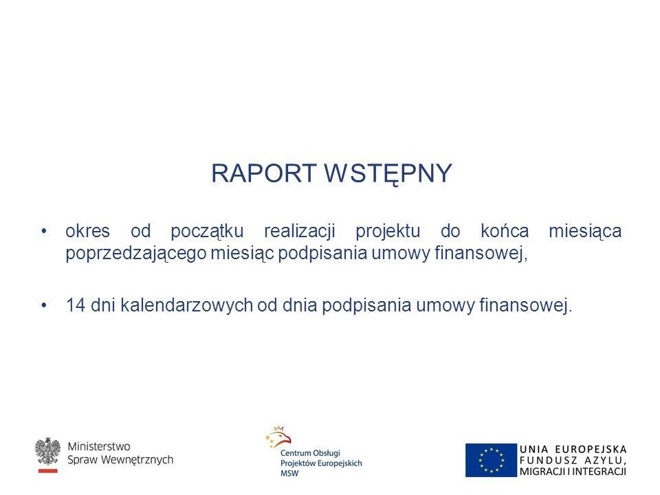 RAPORT WSTĘPNY okres od początku realizacji projektu do końca miesiąca poprzedzającego miesiąc podpisania umowy finansowej, 14 dni kalendarzowych od d