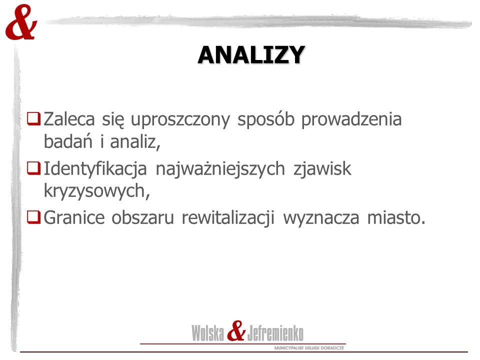 ANALIZY  Zaleca się uproszczony sposób prowadzenia badań i analiz,  Identyfikacja najważniejszych zjawisk kryzysowych,  Granice obszaru rewitalizac