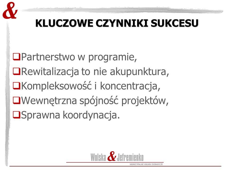 KLUCZOWE CZYNNIKI SUKCESU  Partnerstwo w programie,  Rewitalizacja to nie akupunktura,  Kompleksowość i koncentracja,  Wewnętrzna spójność projekt