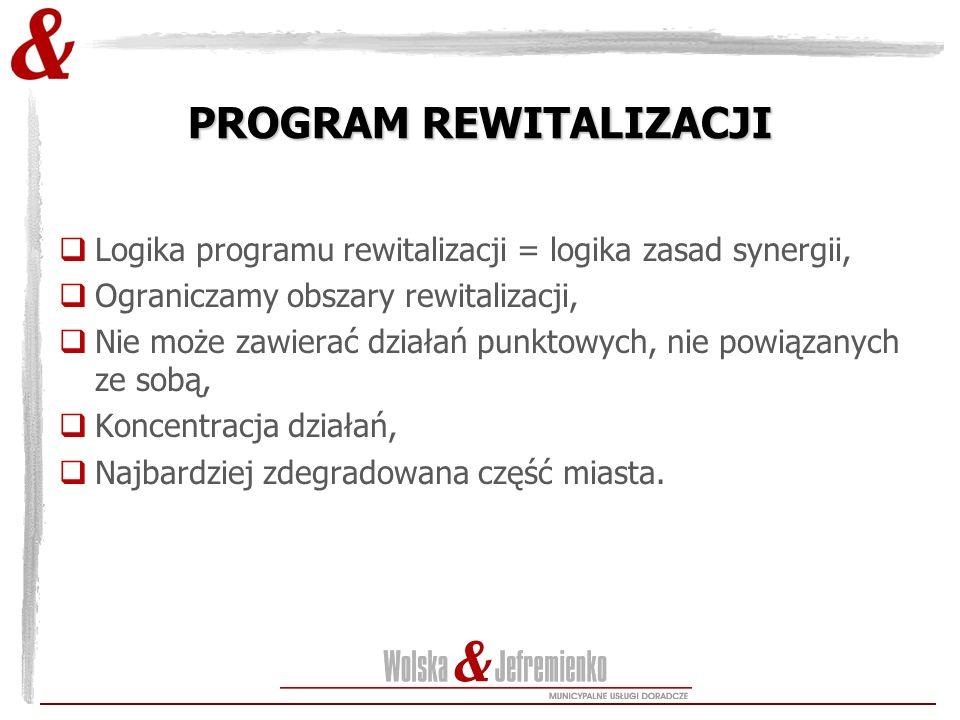 PROGRAM REWITALIZACJI  Logika programu rewitalizacji = logika zasad synergii,  Ograniczamy obszary rewitalizacji,  Nie może zawierać działań punkto