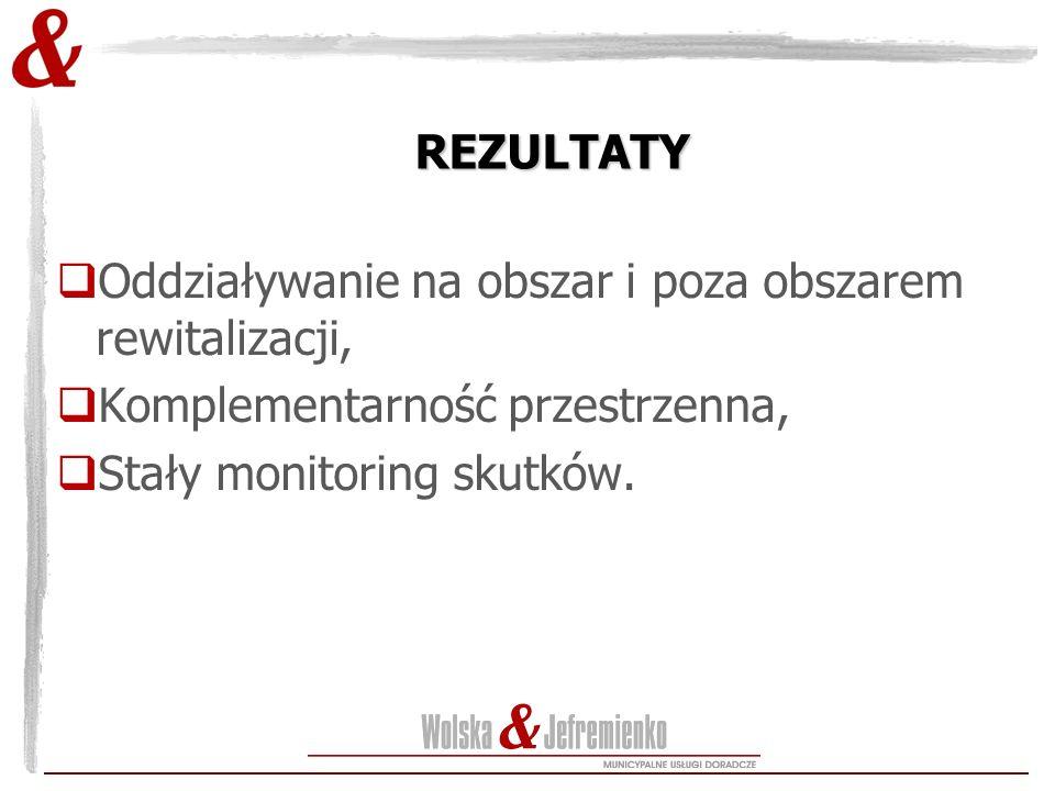 REZULTATY  Oddziaływanie na obszar i poza obszarem rewitalizacji,  Komplementarność przestrzenna,  Stały monitoring skutków.