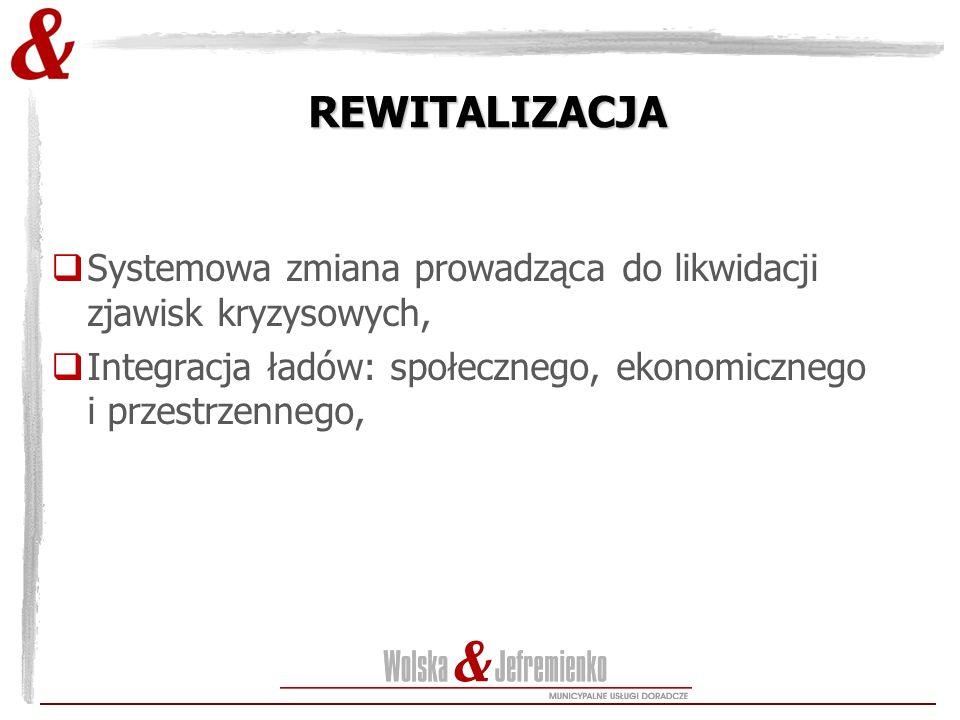 REWITALIZACJA  Systemowa zmiana prowadząca do likwidacji zjawisk kryzysowych,  Integracja ładów: społecznego, ekonomicznego i przestrzennego,