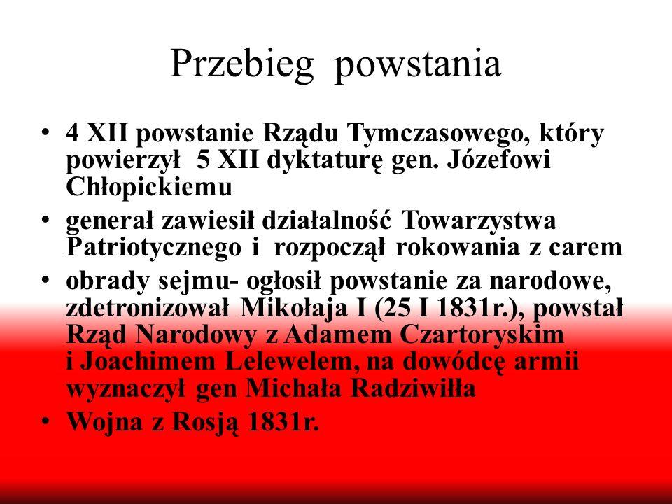 Przebieg powstania 4 XII powstanie Rządu Tymczasowego, który powierzył 5 XII dyktaturę gen. Józefowi Chłopickiemu generał zawiesił działalność Towarzy