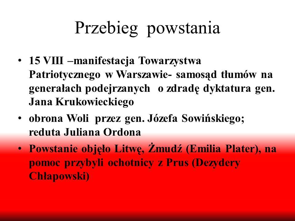 Przebieg powstania 15 VIII –manifestacja Towarzystwa Patriotycznego w Warszawie- samosąd tłumów na generałach podejrzanych o zdradę dyktatura gen. Jan