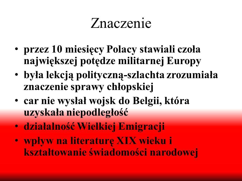 Znaczenie przez 10 miesięcy Polacy stawiali czoła największej potędze militarnej Europy była lekcją polityczną-szlachta zrozumiała znaczenie sprawy ch