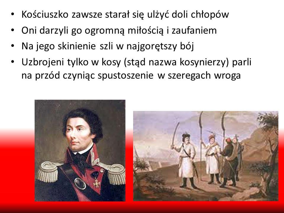 Uniwersał połaniecki Nie mając wystarczających sił, by przedostać się do Warszawy, Kościuszko założył w Połańcu obóz i starał się wykorzystać czas na reorganizacje i wzmocnienie wojska 7 maja 1794 ogłosił słynny uniwersał połaniecki Dzięki nadzwyczajnym wysiłkom organizacyjnym udało się powstańcom wystawić 55-tys.