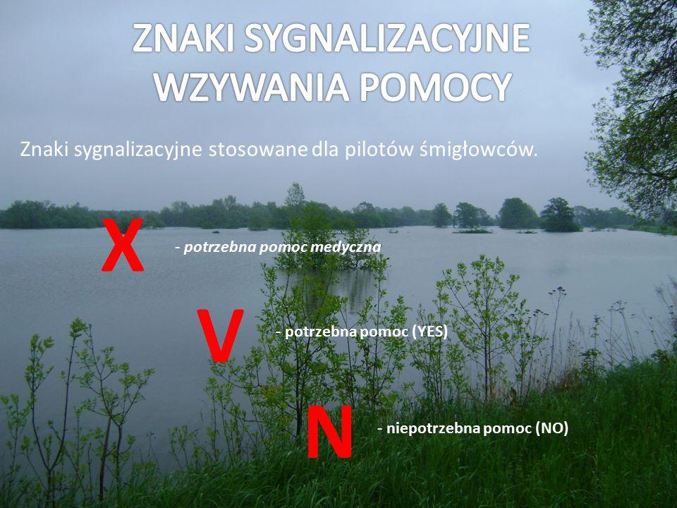 Znaki sygnalizacyjne stosowane dla pilotów śmigłowców. X V N - potrzebna pomoc medyczna - potrzebna pomoc (YES) - niepotrzebna pomoc (NO)