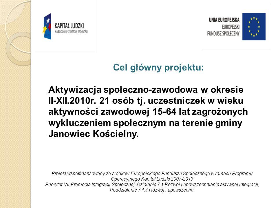 Cele szczegółowe projektu: Zwiększenie aktywności społeczno-zawodowej 21 osób tj.