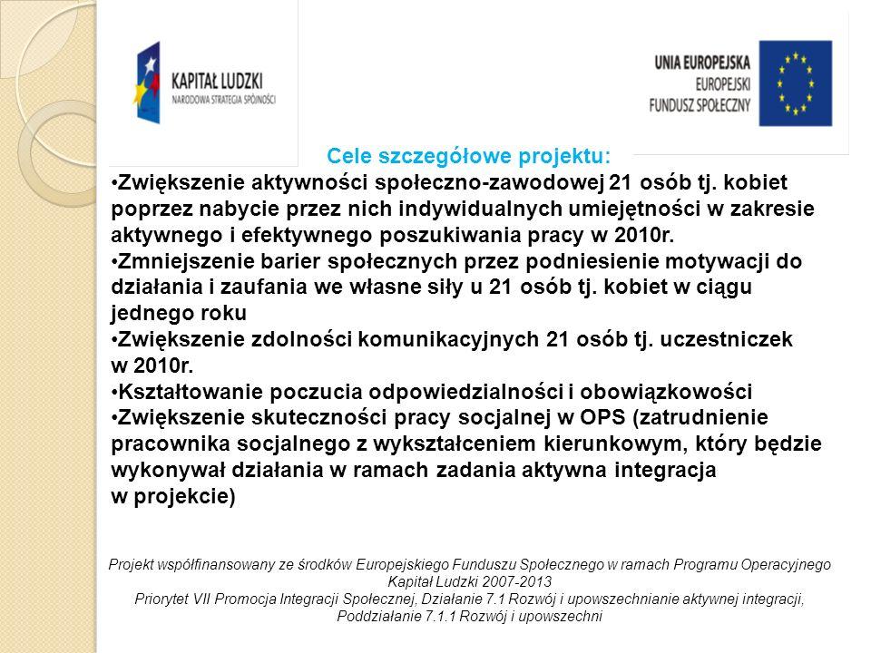 Zadania realizowane w ramach projektu: Aktywna integracja (Kontrakt Socjalny, Program Aktywności Lokalnej).