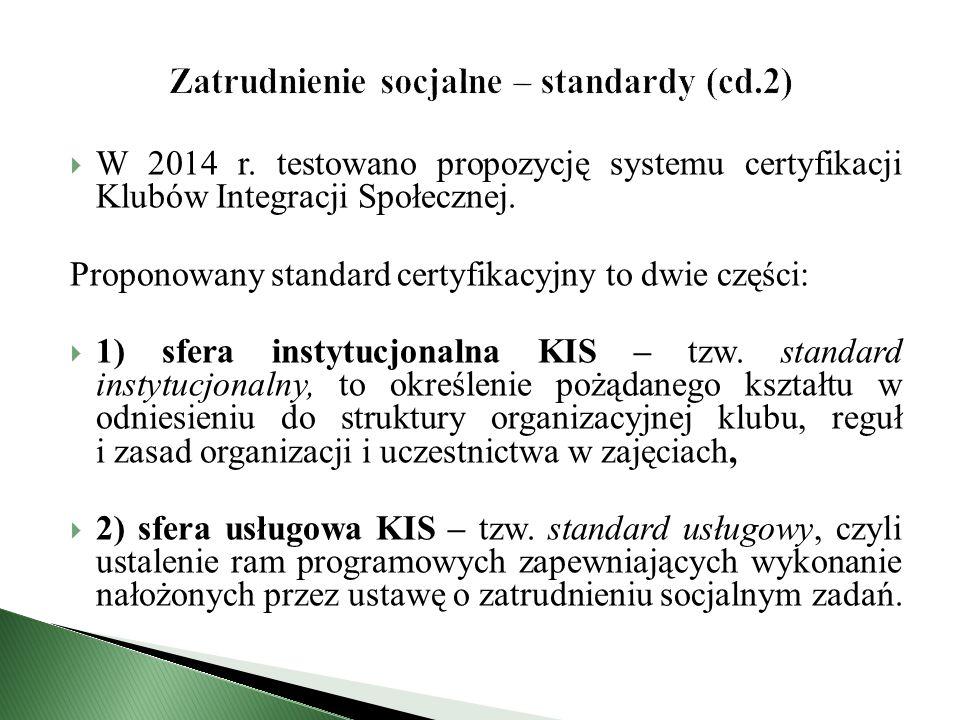  W 2014 r. testowano propozycję systemu certyfikacji Klubów Integracji Społecznej.