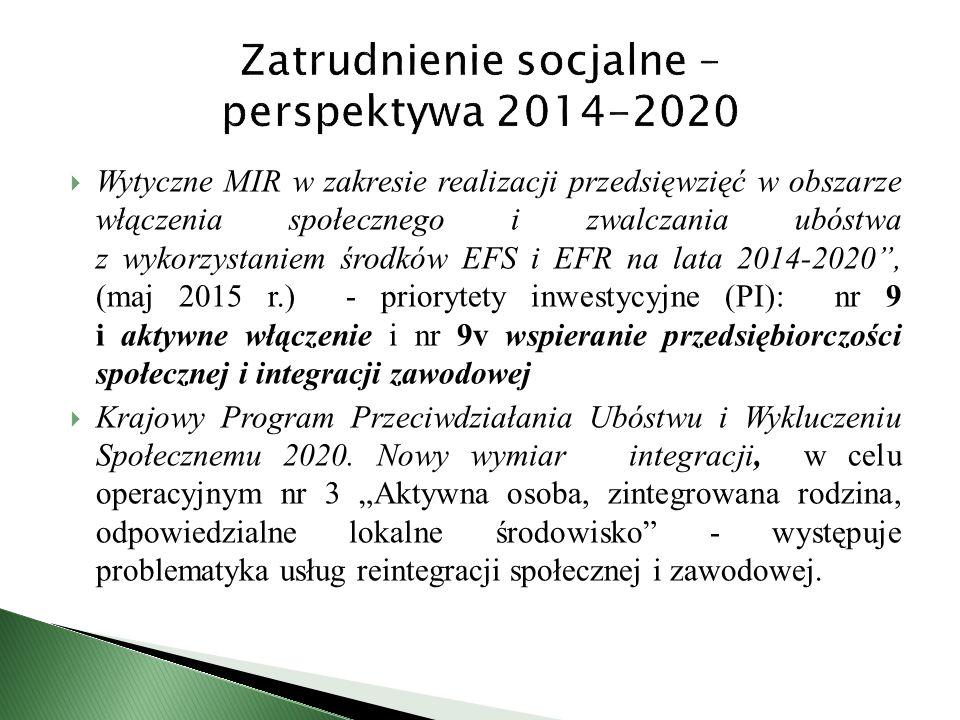  Wytyczne MIR w zakresie realizacji przedsięwzięć w obszarze włączenia społecznego i zwalczania ubóstwa z wykorzystaniem środków EFS i EFR na lata 2014-2020 , (maj 2015 r.) - priorytety inwestycyjne (PI): nr 9 i aktywne włączenie i nr 9v wspieranie przedsiębiorczości społecznej i integracji zawodowej  Krajowy Program Przeciwdziałania Ubóstwu i Wykluczeniu Społecznemu 2020.