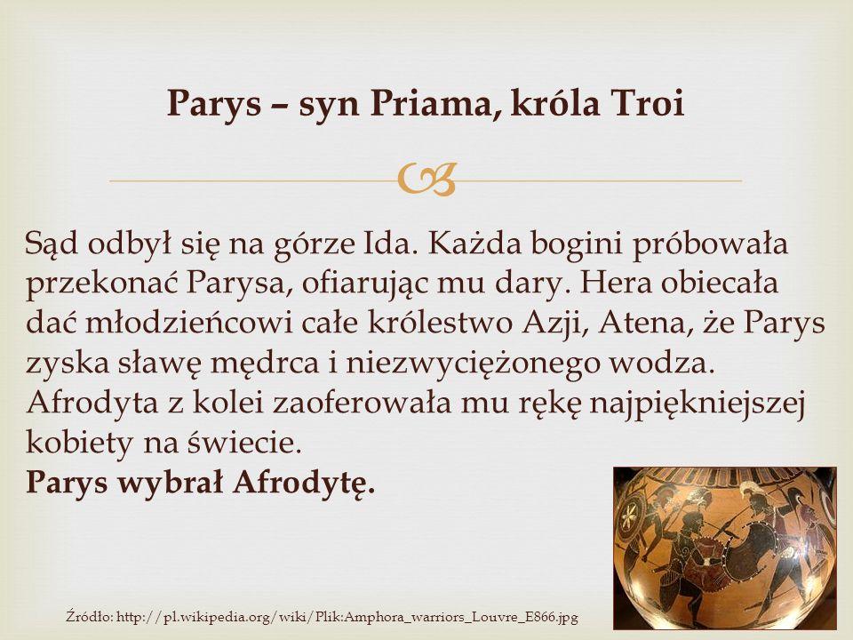  Parys – syn Priama, króla Troi Sąd odbył się na górze Ida. Każda bogini próbowała przekonać Parysa, ofiarując mu dary. Hera obiecała dać młodzieńcow