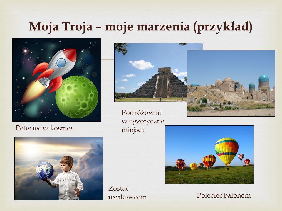  Moja Troja – moje marzenia (przykład) Polecieć w kosmos Podróżować w egzotyczne miejsca Polecieć balonem Zostać naukowcem