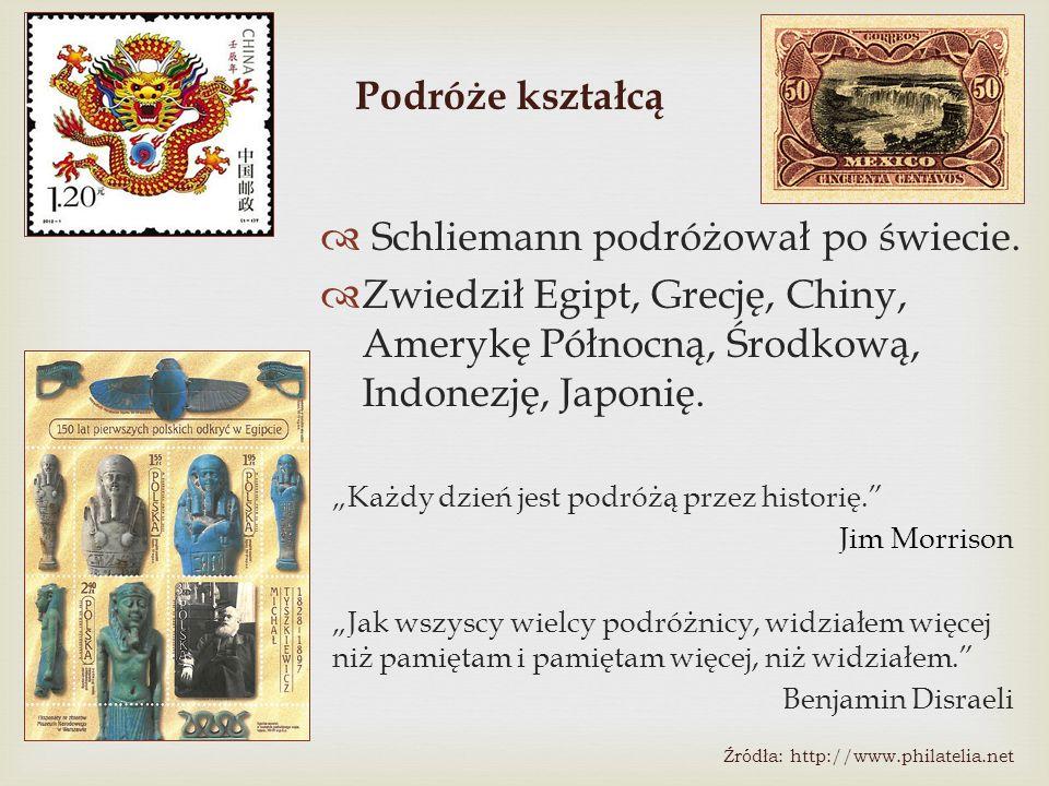 """Podróże kształcą  Schliemann podróżował po świecie.  Zwiedził Egipt, Grecję, Chiny, Amerykę Północną, Środkową, Indonezję, Japonię. """"Każdy dzień jes"""
