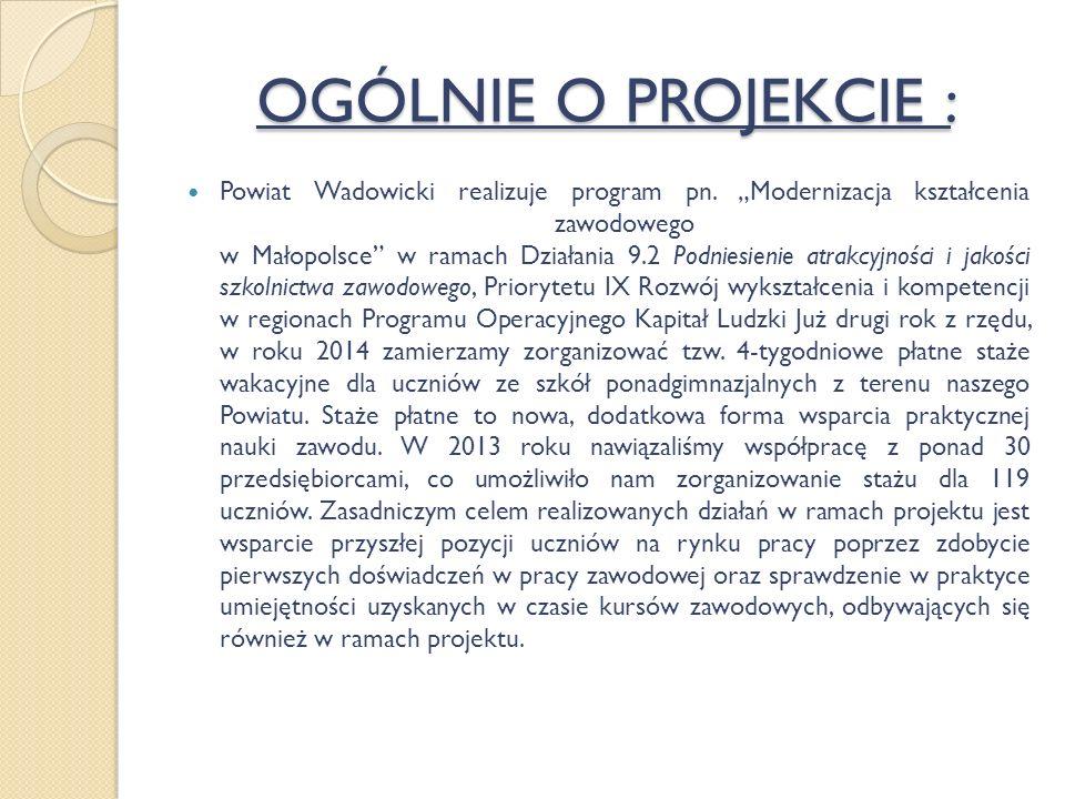 OGÓLNIE O PROJEKCIE : Powiat Wadowicki realizuje program pn.