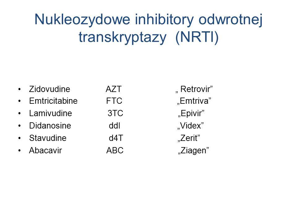 "Nukleozydowe inhibitory odwrotnej transkryptazy (NRTI) Zidovudine AZT "" Retrovir Emtricitabine FTC ""Emtriva Lamivudine 3TC ""Epivir Didanosine ddI ""Videx Stavudine d4T ""Zerit Abacavir ABC ""Ziagen"