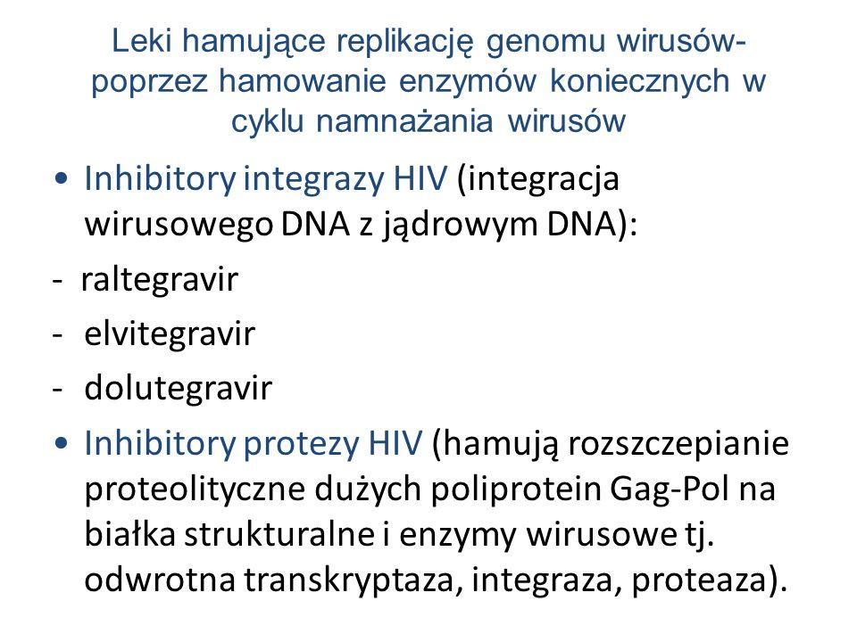 Leki hamujące replikację genomu wirusów- poprzez hamowanie enzymów koniecznych w cyklu namnażania wirusów Inhibitory integrazy HIV (integracja wirusowego DNA z jądrowym DNA): - raltegravir -elvitegravir -dolutegravir Inhibitory protezy HIV (hamują rozszczepianie proteolityczne dużych poliprotein Gag-Pol na białka strukturalne i enzymy wirusowe tj.