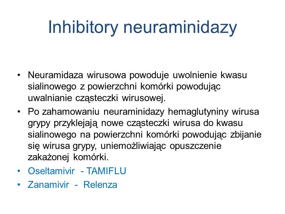 Inhibitory neuraminidazy Neuramidaza wirusowa powoduje uwolnienie kwasu sialinowego z powierzchni komórki powodując uwalnianie cząsteczki wirusowej.