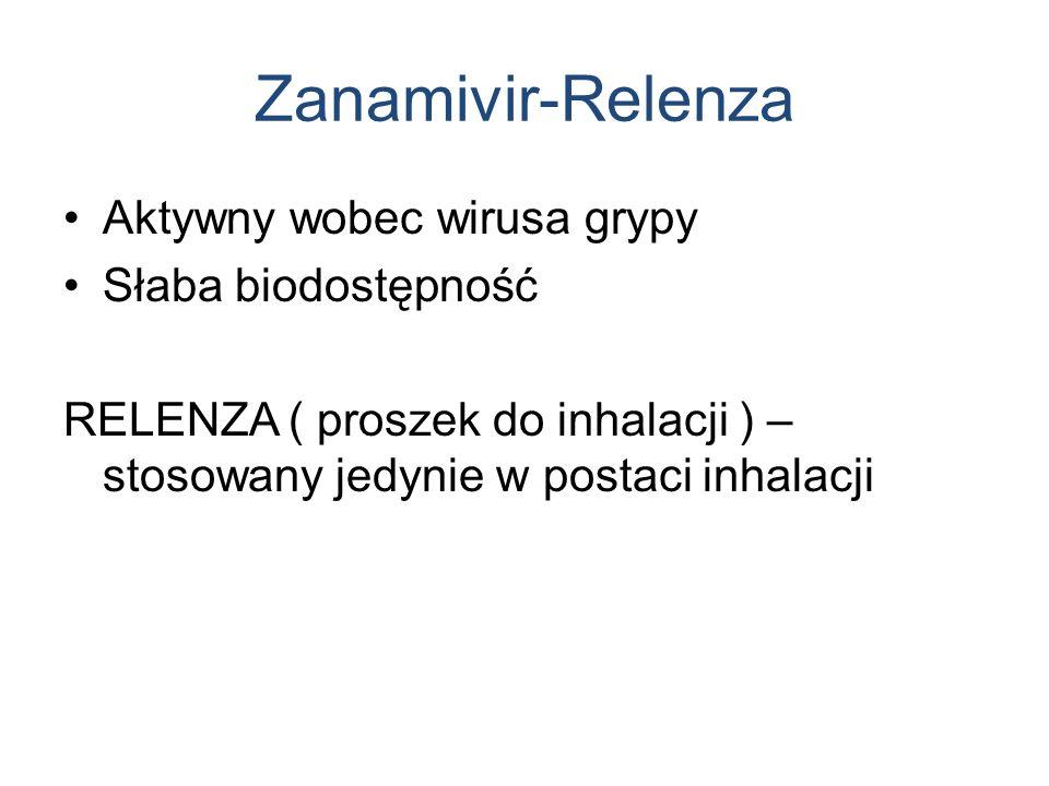 Zanamivir-Relenza Aktywny wobec wirusa grypy Słaba biodostępność RELENZA ( proszek do inhalacji ) – stosowany jedynie w postaci inhalacji