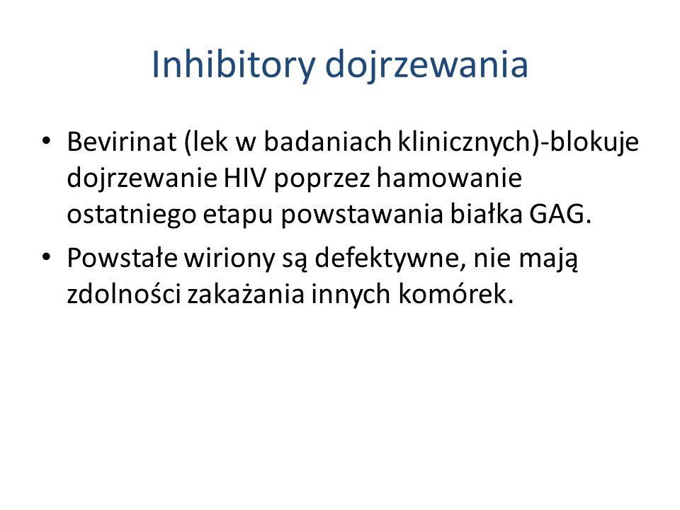 Inhibitory dojrzewania Bevirinat (lek w badaniach klinicznych)-blokuje dojrzewanie HIV poprzez hamowanie ostatniego etapu powstawania białka GAG.