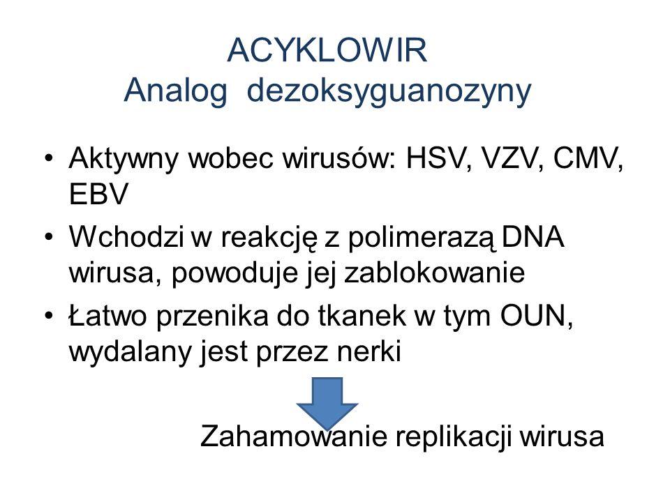 ACYKLOWIR Analog dezoksyguanozyny Aktywny wobec wirusów: HSV, VZV, CMV, EBV Wchodzi w reakcję z polimerazą DNA wirusa, powoduje jej zablokowanie Łatwo przenika do tkanek w tym OUN, wydalany jest przez nerki Zahamowanie replikacji wirusa